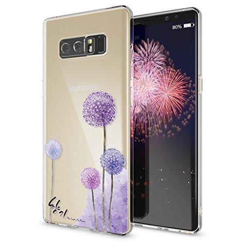 NALIA Handyhülle kompatibel mit Samsung Galaxy Note 8, Motiv Design Schutzhülle Slim Silikon Hülle, Crystal Handy-Tasche Hülle Muster Back-Cover Dünn, Smart-Phone Etui, Designs:Dandelion Pink