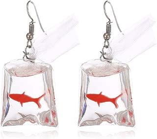 TOKO Funny Fish in Bag Earrings, Unique Acrylic Resin Dangle Earrings Gift for Girls Women