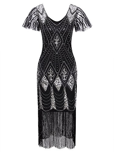 Vijiv Women 1920 style Flapper Sequin Beads Fringe Themed Party Gatsby Cocktail Dresses Black Silver XX-Large