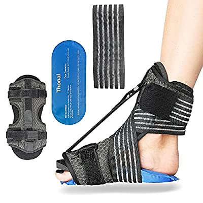 Plantar Fasciitis Night Splint, Night Splint for Plantar Fasciitis, Adjustable Plantar Fasciitis Splint Night with Hot Cold Pad and Bandage [Newest 2021] by Thonal