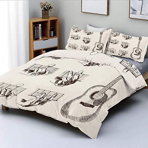 Juego de funda nórdica, Sketch Art Style Instrumentos y acordes Técnica de flamenco acústico Habilidad Talento decorativo Juego de ropa de cama de 3 piezas con 2 fundas de almohada, marrón crema, mejo