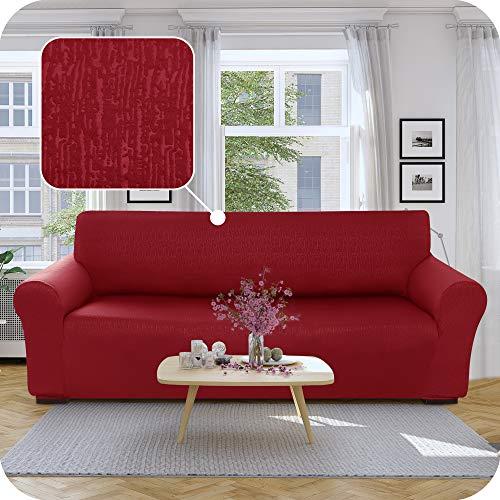 UMI Amazon Brand Funda para Sofa Decorativa Suave de Salon Comedor 3 Plazas Rojo Oscuro