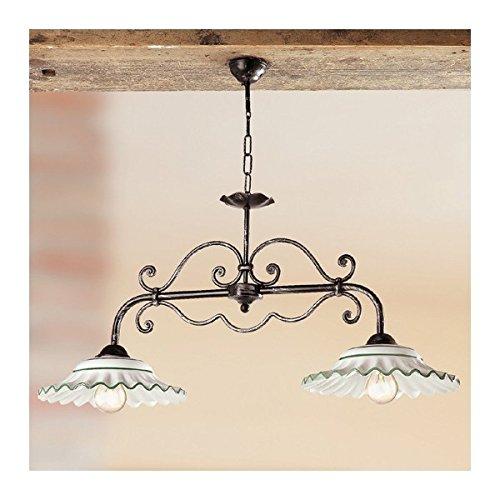 Lampe de rocker 2 lumières en fer avec des plaques en céramique plissée vintage pays – Ø 87 cm - Bianco (nessun decoro)