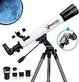 Moutec telescopio Refractor, Telescopio de 700/70 mm para Principiantes, telescopio astronomico con Adaptador para teléfono Inteligente y Tres Ocular, Lente Barlow 3X