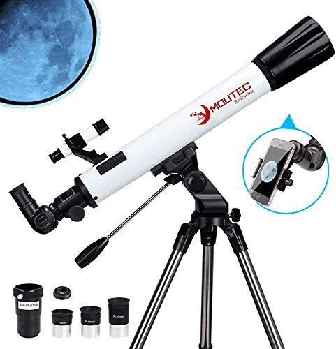 Moutec Telescopi rifrattori, 700/70mm telescopio astronomico, telescopio professionale con adattatore per smartphone e tre oculari, Lente Barlow 2X
