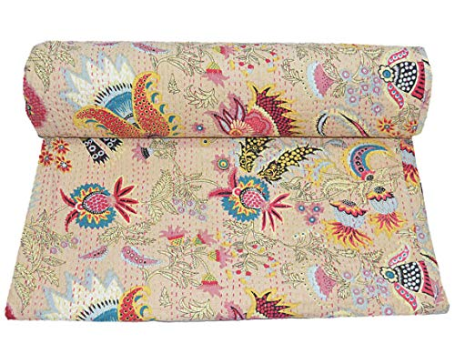 Décoration d'intérieur indienne hippie gitane - Décoration de chambre à coucher - Literie bohémienne - Couvre-lit en coton - Couvre-lit fait à la main - Literie Kantha vintage Kantha - Drap de lit indien pour canapé et lit