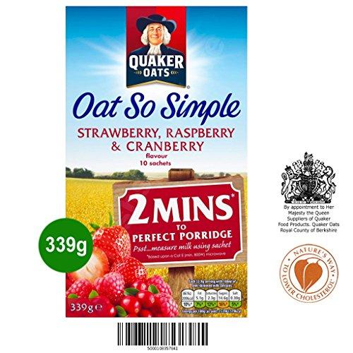 Quaker Oat So Simple Strawberry, Raspberry & Cranberry 10 x 33,9g - Vollkorn Haferflocken mit Erdbeere, Himbeere & Preiselbeere