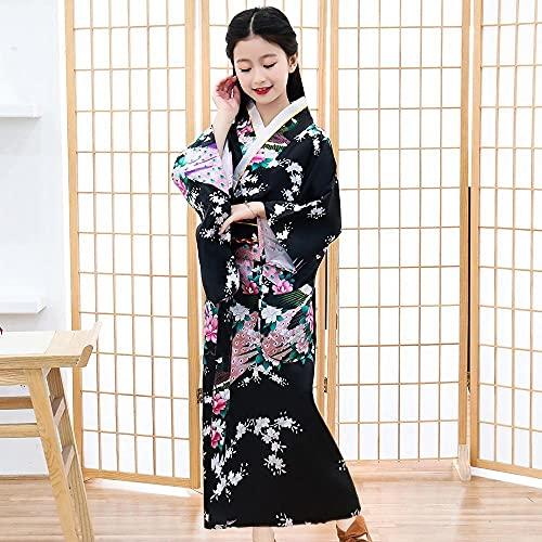 CDDKJDS Vestido Suelto Estampado Yukata Y Traje De Etapa Negra Vestido De Albornoz Sexy Mujer Kimono (Color : Black Style Child, Size : L)