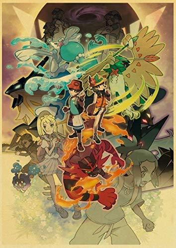 H/M Dessin Animé Pokemon Go Pikachu Affiche Rétro Toile Peinture Affiche Murale Art Affiche Famille Enfants Chambre Décoration 50X70 Cm-Cv1256