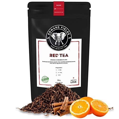 Edward Fields Tea ® - Té Rojo Pu Erh orgánico a granel con Canela y Naranja. Té bio recolectado a mano con ingredientes naturales, 100 gramos, China
