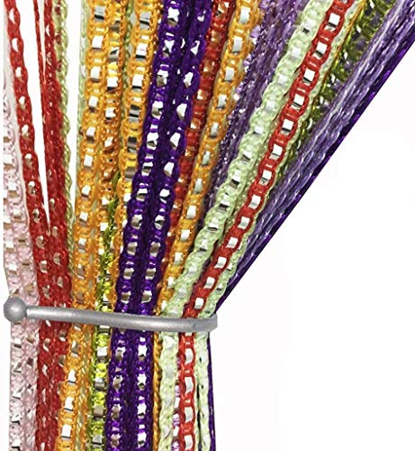 AIZESI Fadenvorhang Fadengardine Fadenstore Vorhänge 90 x 200 cm Vorhang Fenstervorhang, SchiebeVorhänge Blickdicht Glitzer(Rainbow)
