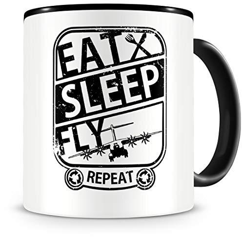 Samunshi® Flugzeug Tasse mit Spruch Eat Sleep Fly Repeat Geschenk für Piloten Kaffeetasse groß Lustige Tassen zum Geburtstag schwarz 300ml