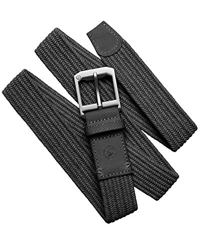Arcade Belt Mens Woven Norrland Belts: Micro-Adjust Elastic Webbing, Alloy Buckle, Black/Black, L