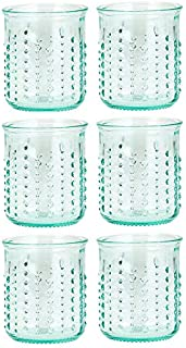 Amici Home Double Old Fashioned, 7AJ723S6R, Urchin DOF Italian, Set of 6, 12 oz each, 12 Fluid Ounces, Clear Green Recycled Glass