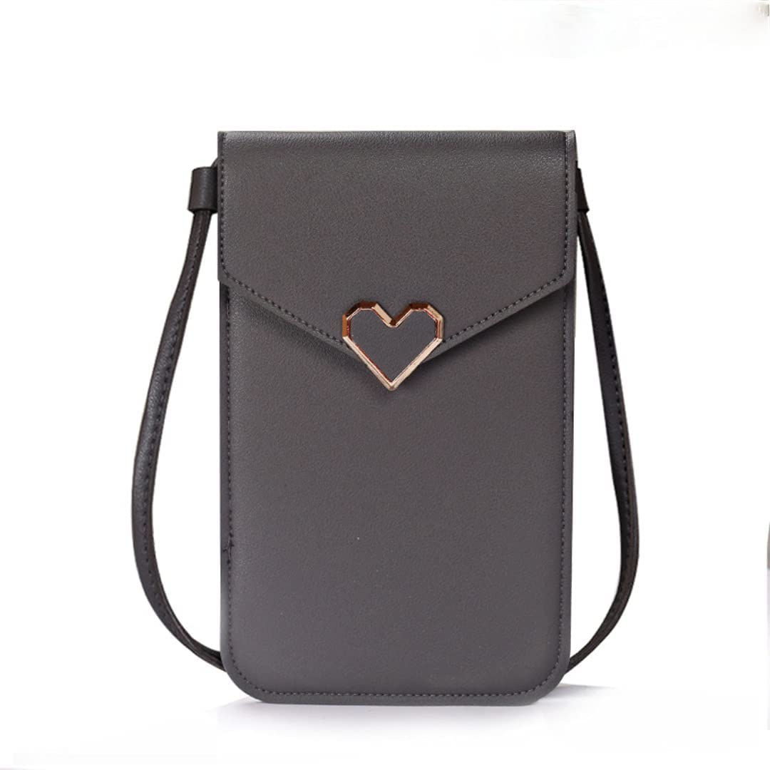 ISYSUII Crossbody Wallet Case for Samsung Galaxy A51 Touch Screen Cell Phone Purse Love Heart Pattern with Card Holder Neck Strap Leather Magnetic Protective Cover for Women Girls,Dark Gray