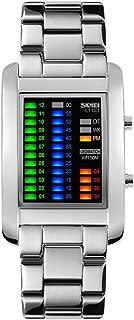Unisex Digital Watch 4 Colors LED Lights Binary Watch Waterproof 50M 164FT Water Resistant tainless Steel Watch for Men Women Calendar Date Week Fashion Sport Dress Wrist Watch - Black (White)