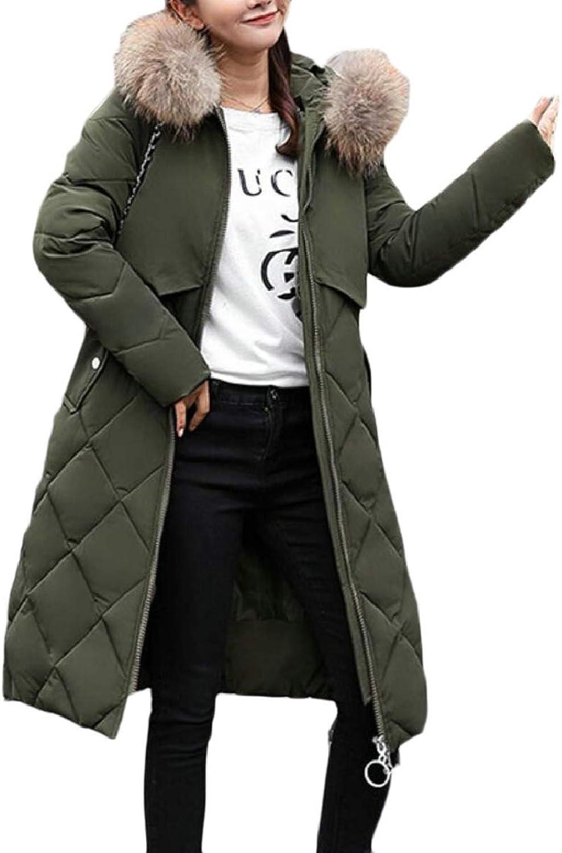 Women Winter Thicken FauxFur Collar Mid Long Length Padded Down Jacket
