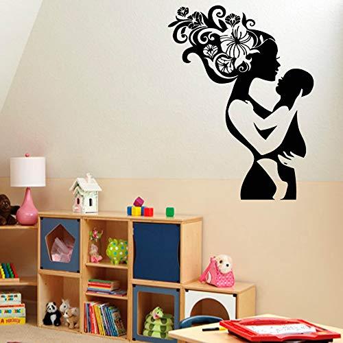 Geiqianjiumai bloemenhaar met moeder en moeder muursticker slaapkamer Art Deco Vinyl stickers kinderkamer decoratie