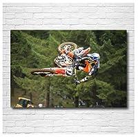ダートバイクモトクロスレースレーシングバイクキャンバスにプリントアートポスター写真リビングルーム写真家の装飾ユニークなギフト(60x80cm)-24x32INフレームなし