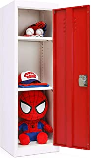 INVIE Kids Steel Storage Locker 3 Tier Steel Locker, Metal Cabinet with Key and Lock, Kids Toy Safe Storage for Home and School (Red Door)
