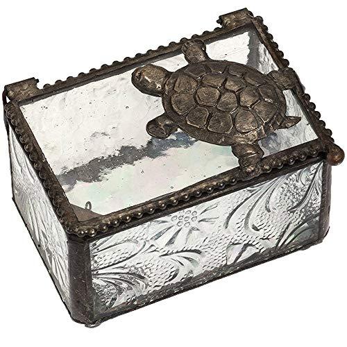 Sea Turtle Gifts Jewelry Box Clear Glass Keepsake Display Decorative Boxes Beach Home Décor Knick Knacks Trinket Dish Ring Holder Box 331