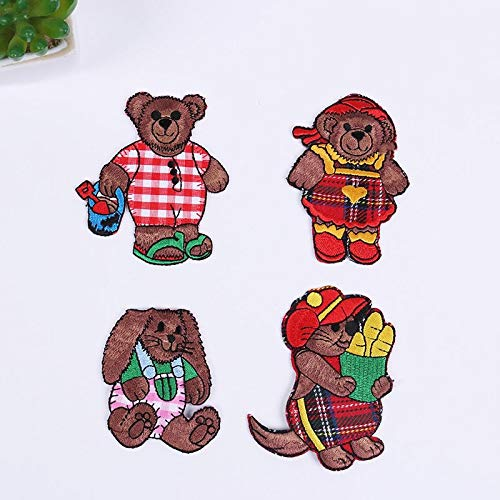 Iron on Patches/Sewing Patch,Patches for Clothes,Embroidery Applique, Cartoon Brown Bear 4pcs
