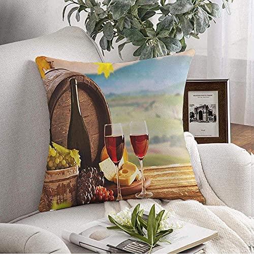 Funda de Fundas de Almohada Cozy Delicious Cheeses Gourmet Vino Tinto Queso Verde Cocinar en la Comida Dieta Hierbas Texturas Antiguas Comida Bebida Cojín Cojín para sofá Decoración del hogar, 18'x
