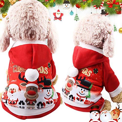 Idepet Felpa con Cappuccio per Cane Cappotto Invernale Autunnale per Animali Domestici di Natale Vestiti del Cane del Cotone con Il Bottone Tuta per Cani per Cuccioli di Cani di Piccola Taglia