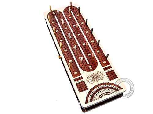 House of Cribbage - Continuous Cribbage Board/Box Inlaid in Maple Wood/Bloodwood : 4 Track with Score Marking Fields for Skunks, Corners, Won Games & Storage Space for Two Deck of Cards & Pegs