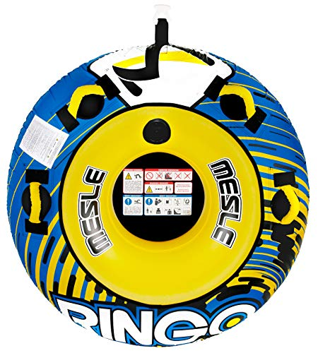 MESLE Tube Package Ringo 54'', mit 2P Zugleine, Towable-Tube, Fun-Tube, 137 cm aufblasbarer-Donut, 1 Person Schleppreifen für Kinder & Erwachsene, blau-gelb