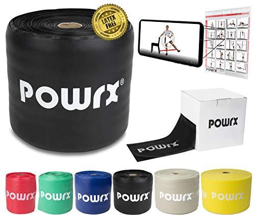 POWRX Elastici Fitness »Senza Lattice« Ideali per Esercizi di Ginnastica, Fisioterapia, Yoga e Pilates - Ottimi Anche per potenziamento Muscolare - Colore e Resistenza a Scelta + PDF Workout (Nero)