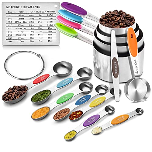 FANGSUN Stainless Steel Nesting Measuring Cups and Double Sided Stackable Magnetic Spoons Set, English & Metric Engraved Measurement with Colored Long Handle, For Dry or Liquid