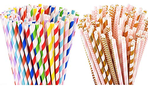 ALINK 200 Striped Paper Straws + 100 Gold Pink Paper Straws for Party Supplies, Birthday, Wedding, Bridal/Baby Shower Decorations and Holiday Celebrations