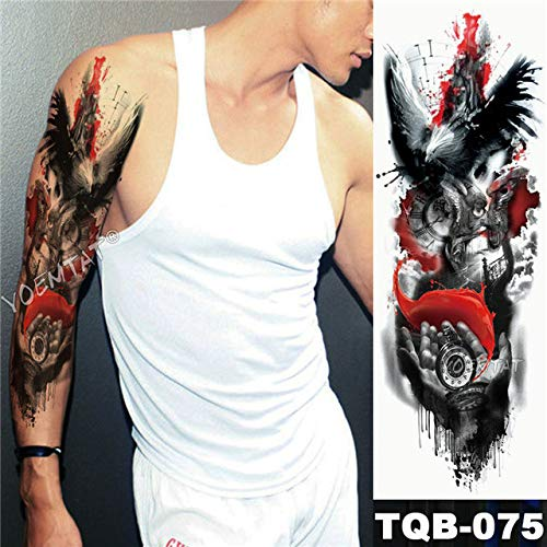 Big Arm Tattoo Compass Helm wasserdicht Tattoo Sticker Schiff Ocean Man
