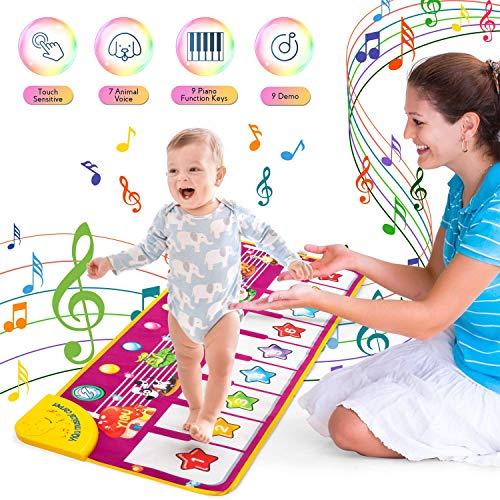 UNEEDE Piano Mat, Kinder Tanzmatten Klaviermatte 7 Tierstimmen Klaviertastatur Spielzeug Touch Musical Teppich Musik Matte Keyboard Matte für Jungen Mädchen Kinder 100*40cm