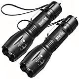 LED Torch Flashlight, Wowlite V1000 Ultra Bright Flashlight with 5 Light Modes and Adjustable Focus for Emergency Camping Hiking (2 Pack)