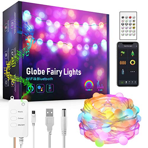 DreamColor Fairy Lights Music Sync,16FT RGBIC Waterproof 33LED Globe String Lights Work with Alexa Google Home, App Controlled, USB Plug in, Twinkle Lights for Kid's Bedroom Christmas Tree Decor