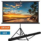 Portable Projector Screen with Tripod Stand 100 inch 16:9, Indoor Outdoor Foldable Movie Screen with...