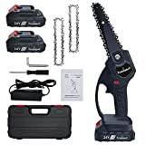 6-Inch portable mini chainsaw , cordless chainsaw portable one-hand electric saw, battery powered wood cutter. Best for wood cutting, tree trimming and garden pruning. (2pc Battery and 3 Chains)
