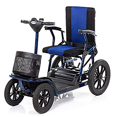 4 Wheel Electric Mobility Scooter Folding Lightweight,Foldable Wheelchair 40cm Wide Seat,Seniors Power Chair Travel Portable Heavy Duty,300w*2 12ah Batterry Endurance 23 Km,high Power Charger