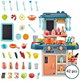 Hamkaw Kids Kitchen Playsets with Lights and Sounds, Pretend Play Food Set