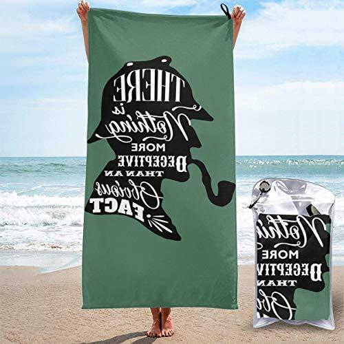 Yuanmeiju Sher Lock Ho Lmes Unisex Camping Hogar Toalla de secado rápido Toallas de yoga Toallas de playa Toallas de gran tamaño Negro