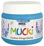 Kreul 23122 - Mucki schimmernde Funkel - Fingerfarbe, 150 ml in Diamanten blau, auf Wasserbasis, parabenfrei, glutenfrei, laktosefrei und vegan, auswaschbar, vermalbar mit Pinsel und Fingern