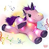 Hopearl LED Musical Stuffed Unicorn Light up Singing Plush Toy Adjustable Volume Lullaby Animated Soothe Birthday Gifts for Kids Toddler Girls, Pink, 16''