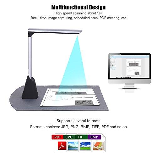 Aibecy Document Camera Scanner Pieghevole 10 Mega-pixel HD A4 Dimensione di Scansione con Funzione LED Lluce per Immagine del Libro