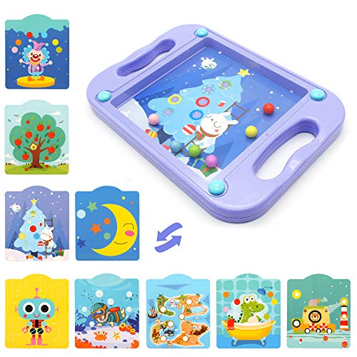 Hand-Held Balance Ball Maze Board with 10 Scenes Cards, Labyrinth Board Toys for Kids, Educational Learning Puzzle Game for Developing Patience, Gift for Toddlers, Children, Boys&Girl(Purpl)