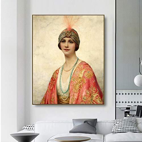 ganlanshu Belleza en Trajes orientales Hermosas Mujeres Lienzo Pintura al óleo póster imágenes de Pared decoración Moderna del hogar,Pintura sin Marco,40x50cm