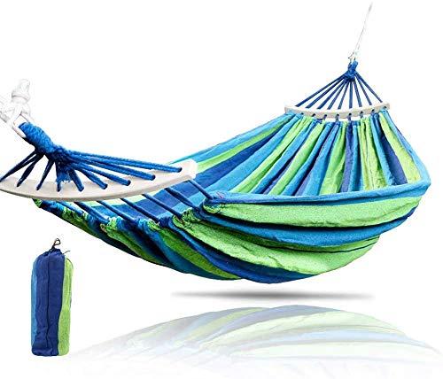 WQSFD Hängematte Mehrpersonen 250 x 150 cm,Belastbarkeit bis 400 kg, für Outdoor Camping Wandern Garten, Grün-Blaue Streifen,Atmungsaktiv, Schnelltrocknendes Hängematte,150 * 250cm