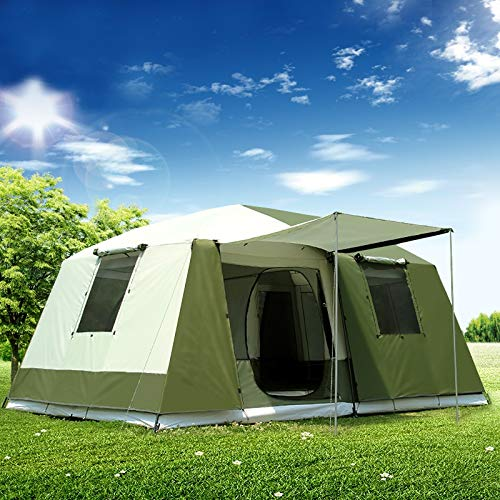 Wdonddonzp Hohe Qualität 10 Personen Double Layer 2 Zimmer 1 Halle Großes Outdoor Family Party Zelte Big Raum wasserdichte Camping-Zelt