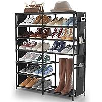 JOMARTO 7-Tier Metal Shoe Shelf Organizer with Side Hanging Pockets